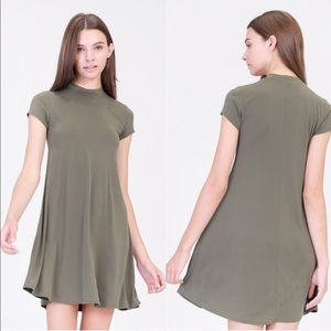 April Spirit Dresses - April Spirit Mock Neck Casual Dress in Olive